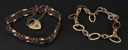 A 9ct gold gate-link bracelet, fastened