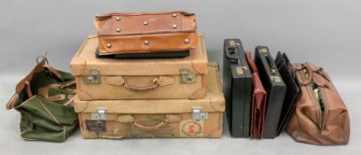 A collection of vintage luggage and brie