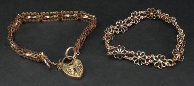 A 9ct gold fancy gate-link bracelet, fas