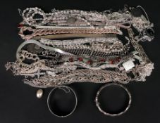 A large collection of silver jewellery,