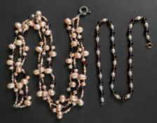 A cultured pearl and gem set necklace, a