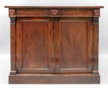 A William IV rosewood chiffonier, with a frieze drawer and cupboard below,