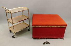 A late Victorian ottoman, with upholster