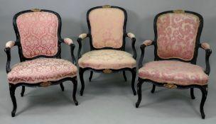 A set of three Louis XV style ebonised a