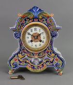 A Faience cased mantel clock, late 19th/