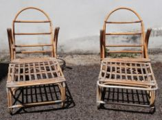 A pair of vintage rattan armchairs, with stools (4).
