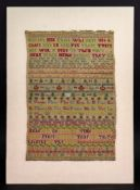 A needlework sampler, worked by Katherine Boothby 1715, with texts, trees, crowns, hearts,
