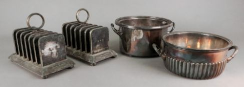 Two Victorian circular two-handled soufflé dishes, with lift-out liners, one with beaded rim,