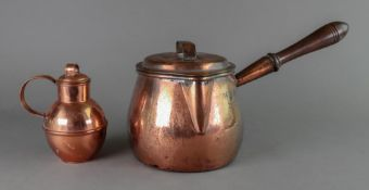 A Victorian copper side pouring saucepan