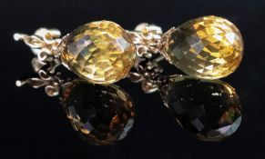 A pair of 14ct gold and citrine briolett