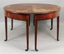 A pair of George III mahogany 'D' end tables, with ebony banded friezes,