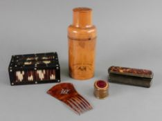 A Victorian cylindrical olivewood cased
