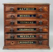 A Victorian stained pine six drawer habe