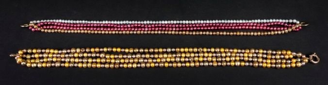 A five-strand dyed cultured pearl neckla