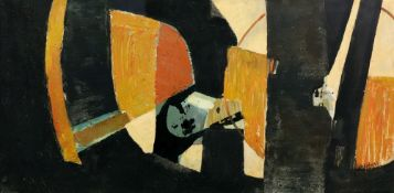 Larry Wakefield, (1925-1997), Untitled, Abstract in orange and black,