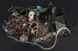A collection of silver filigree and othe