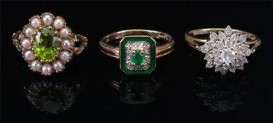 A 14ct gold emerald, diamond and green e