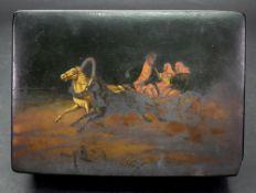 A Russian rectangular papier mache box,