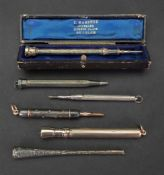 An S Mordan 9ct gold propelling pen, wit
