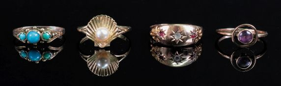 A 9ct gold scallop shell and cultured pe