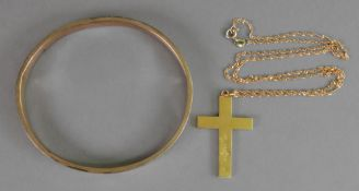 A late Victorian 15ct gold cross, Birmin