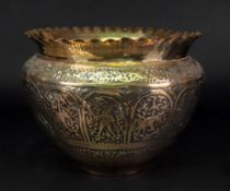 An Indian brass jardiniere, early 20th c