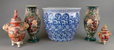 A modern Asian blue and white jardiniere