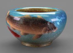 A Japanese ginbari enamel circular bowl,