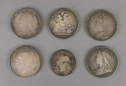 Four Victorian silver Crowns, 1887, 1891