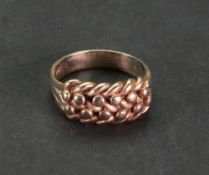 A 9ct gold knotwork signet ring, detaile