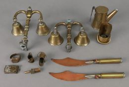 A small collection of Trench art includi