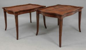 A pair of reproduction yewwood low table