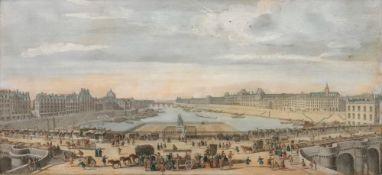 A set of six coloured engravings of Paris, each 21.5 x 46.5cm, (6).