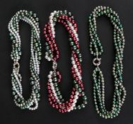 A four-strand green dyed cultured pearl