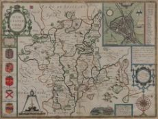 An engraved and coloured map of Worceste
