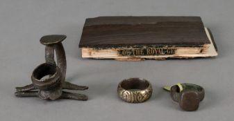 A wrought metal miniature taper stick, 4