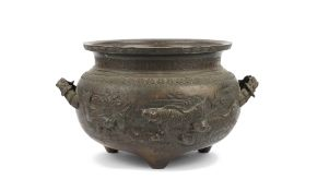 A large Chinese two-handled bronze jardiniere, circa 1900, cast in relief with fish in a pond,