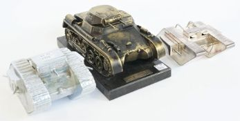 A chrome plated white metal novelty inkwell modelled as a WWI British Mark IV tank, 20th century,