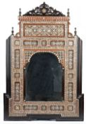 An Ottoman style architectural wood mirror, 20th century,
