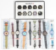 A Swatch display showing ten stages of the assembly of a Swatch wristwatch,