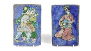 Two Qajar pottery rectangular plaques, late 19th/20th century,