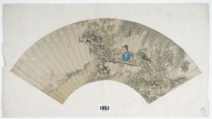 A Chinese fan painting, Qing dynasty, watercolour on paper,