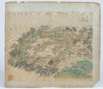 A Chinese album leaf, Qing dynasty, water colour on sillk mounted on card,