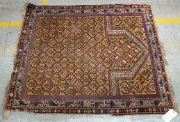 A Marasali prayer rug, Caucasian, the saffron mehrab with a trellis of flowers,