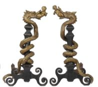 A pair of Italian bronze and cast iron fire dogs, early 19th century,