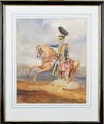 English School (19th century), A Mounted Officer of the 10th Hussars, watercolour,