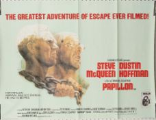 Film poster, 'Papillon' UK Quad, loose sheet, rolled, 101cm x 76cm.