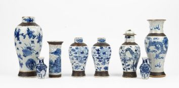 A group of Chinese blue and white crackle glazed vases, late 19th/early 20th century,