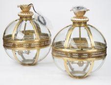 A pair of Georgian style brass lanterns, modern,