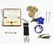 A gold and enamelled bar brooch, with a ladybird motif, cased and nine further brooches and pins,